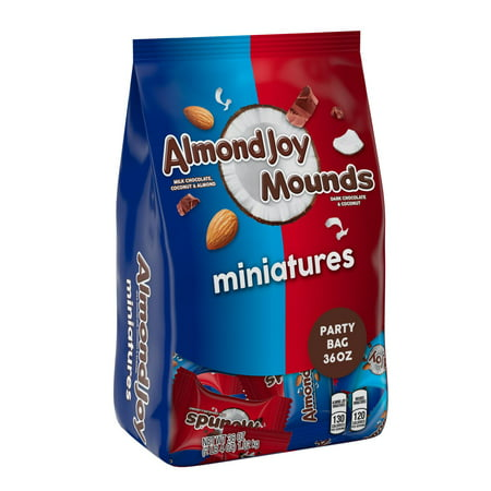 Almond Joy & Mounds Miniatures, Milk Chocolate & Dark Chocolate Candy Party Bag, 36 Oz - Costco Candy Bags