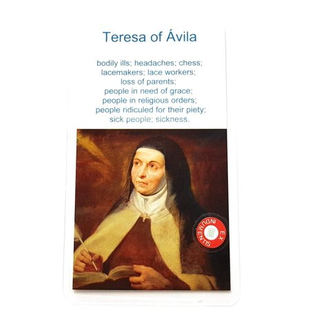 Relic Card 3rd Class of Teresa de Avila Saint Teresa of Jesus Patron of Ill People, Headache, Loss of Parents; People in Need of Grace; People in Religious Orders Santa Teresa de Jesús