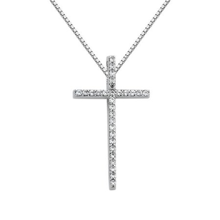 Precious Stars Jewelry 14k White Gold Cubic Zirconia Fancy Cross Pendant with 1-mm Box -