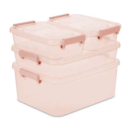 Sterilite Set of 4 Modular Latch Boxes Blush Pink Tint