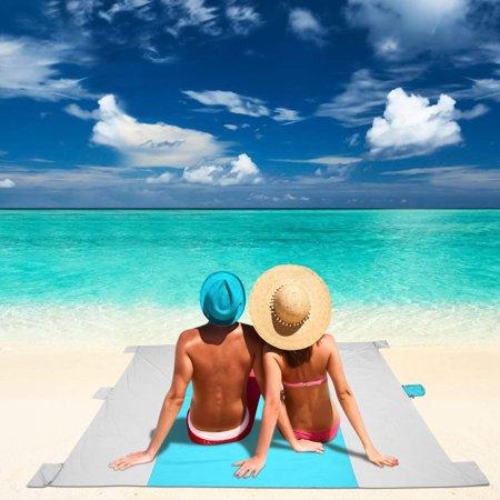 9 x 7ft Outdoor Beach Blanket, Lightweight Durable Nylon Sand Free Quick Drying Picnic Blanket, Large Picnic Blanket Water Resistant, Portable Beach Mat - Beach Straw Mat