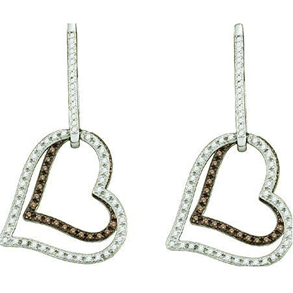 0.55 Carat (ctw) 10k White Gold Round Brown & White Diamond Ladies Heart Shape Dangling Drop Earrings