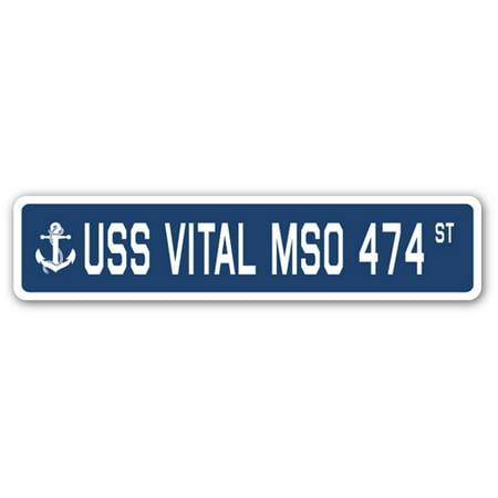 USS VITAL MSO 474 Street Sign us navy ship veteran sailor gift ()