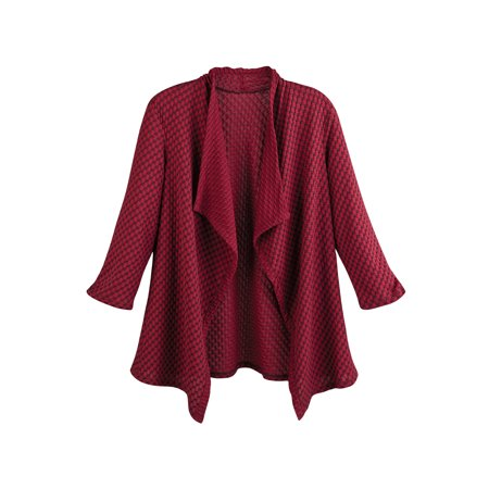 Animal Jacquard Jacket (Sole Dione Studio Women's Honeycomb Jacquard Knit Jacket -Open Front 3/4 Sleeves )