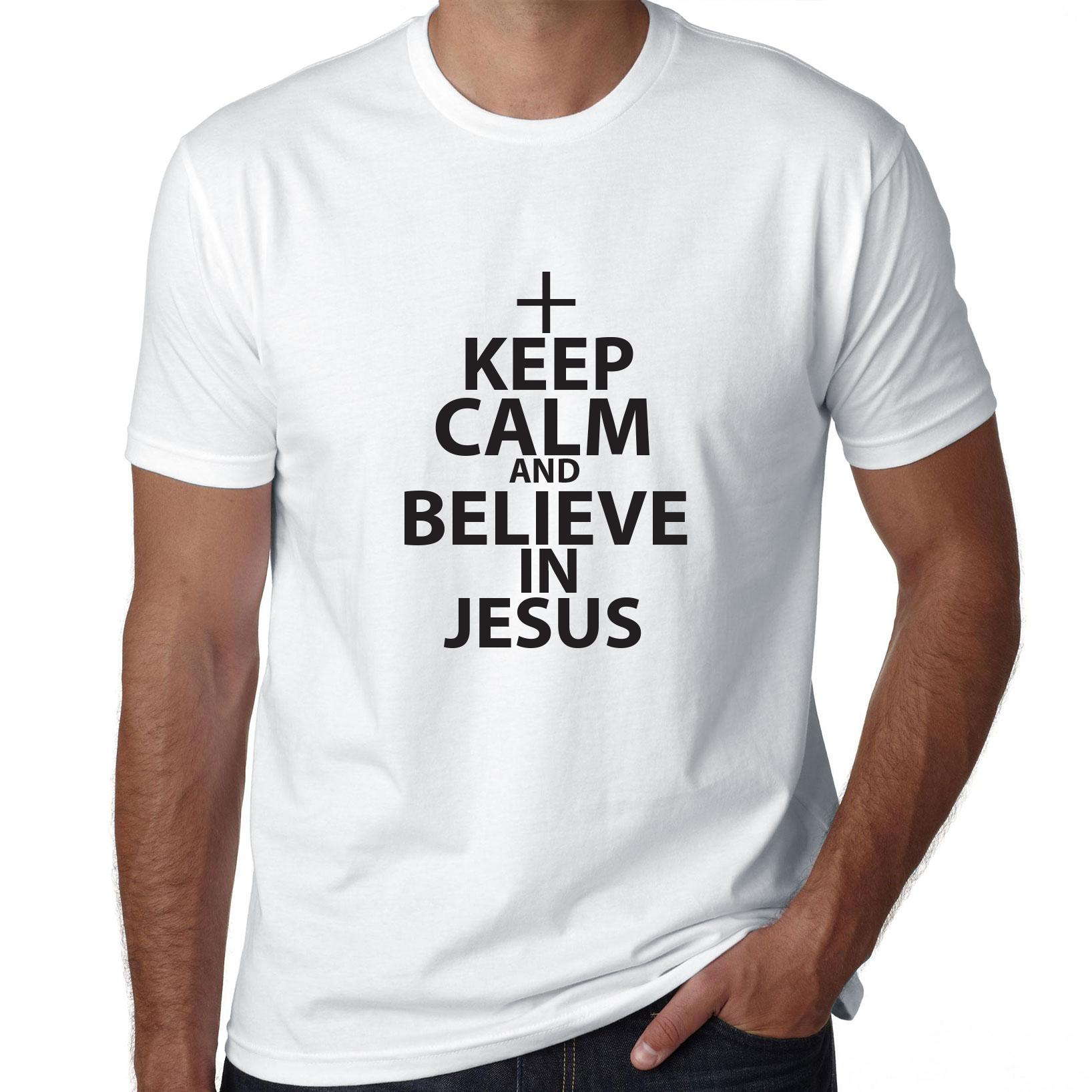 Keep Calm And Believe In Jesus Christian Graphic Men's T-Shirt