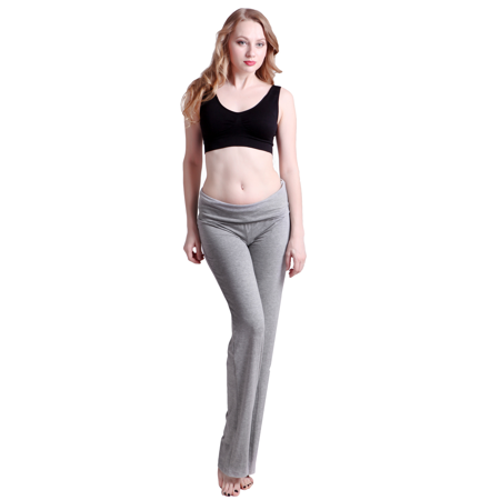 da9ac6c062 HDE Women's Fold Over Waist Yoga Lounge Pants Flare Leg Workout Leggings (Dark  Blue, ...