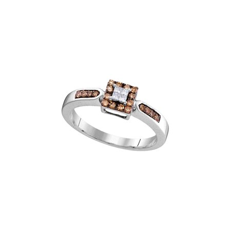 10kt White Gold Womens Round Brown Diamond Square Cluster Ring 1/4 Cttw