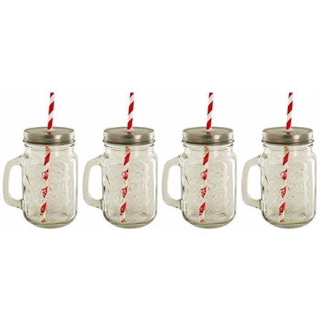 Mason Drinking Jars with Straws 4 Pack With Lid