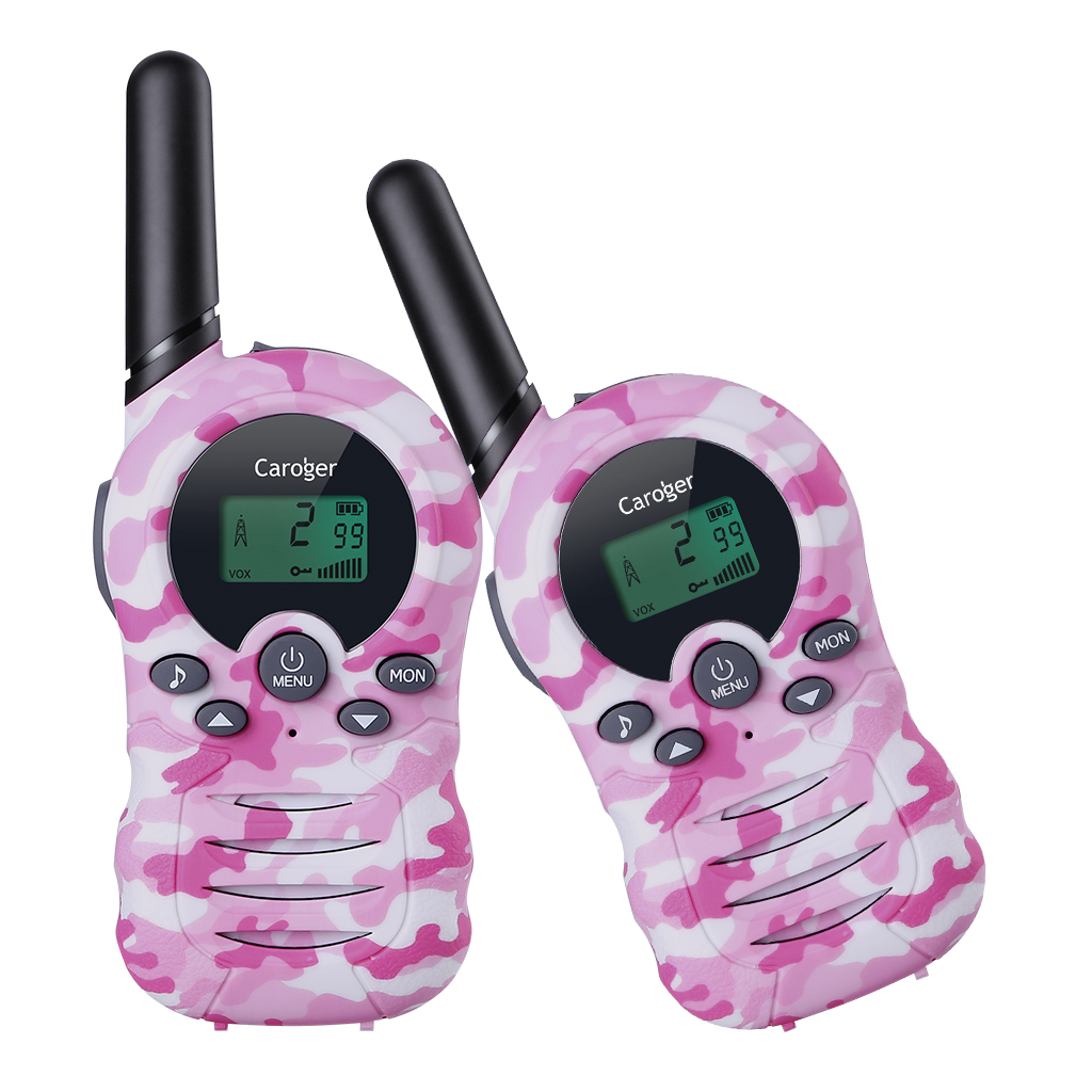 Caroger CR388A License-Free 22 Channel 2packs Walkie Talkies FRS/GMRS 462/467MHZ Two Way Radio Up to 3300 Meters/2 Miles Range Handheld Interphone pink camouflage