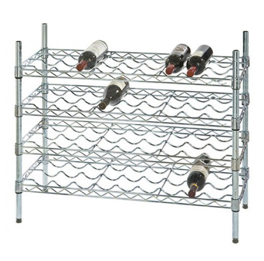 "14"" Deep x 48"" Wide x 36"" High 4 Chrome Shelf Single Wine Rack with 48 Bottle Storage Capacity"