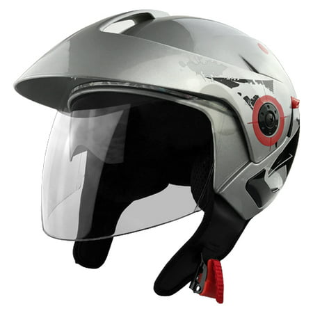 d40c0297 Three Quarter Open Face Motorcycle Helmet with Visor and Face Shield -  Walmart.com