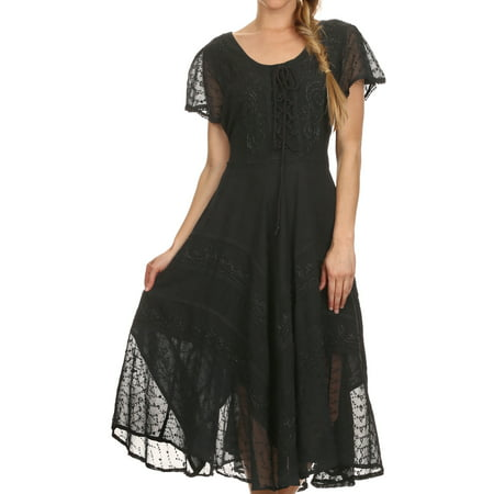 Sakkas Marigold Embroidered Fairy Dress - Black - 1X/2X