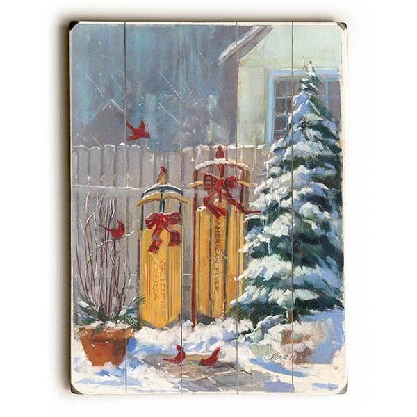 "ArteHouse Decorative Wood Sign ""December Sleds"", 14"" x 20"", Planked Wood"