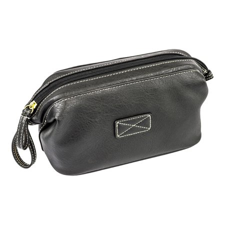 R70 Mens Toiletry Bag, Vegan Leather Compact Top Frame Travel Kit, Black (Leather Toilet Bag)