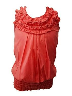 bd80c831d7418 Product Image Little Girls Coral Ruffled Neckline Elastic Waist Sleeveless Blouse  Top
