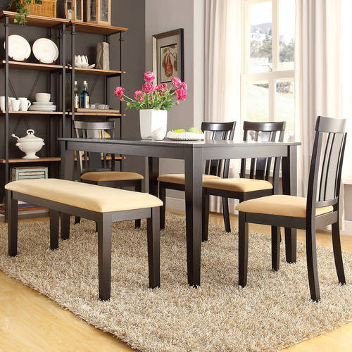 Lexington 6-Piece Dining Table Set with Slat-Back Chairs and Bench, Black