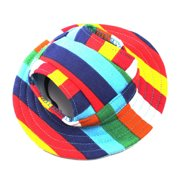 Pet Dog Canvas Hat Sun-shading Cap with Ear Holes for Small Dogs - Size S (Colorful Stripe)