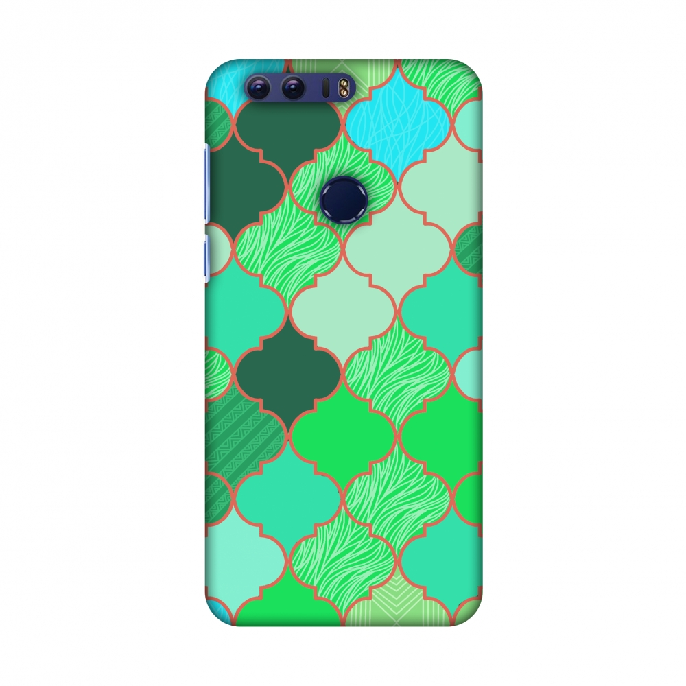 Huawei Honor 8 Case - Stained glass- American green, Hard Plastic Back Cover, Slim Profile Cute Printed Designer Snap on Case with Screen Cleaning Kit