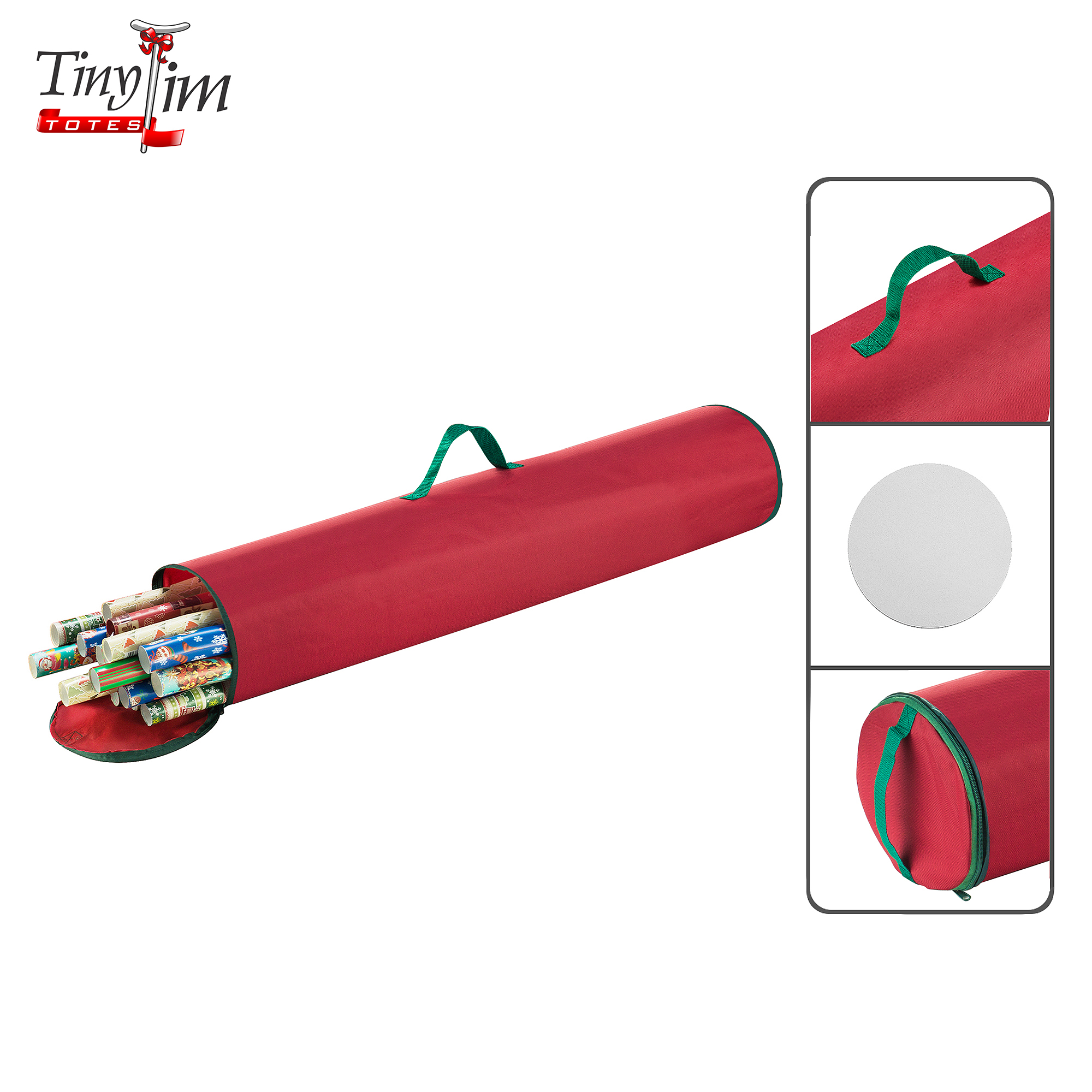 Tiny Tim Totes | Premium Gift Wrap Organizer | 40.5 inch Wrapping Paper | Red