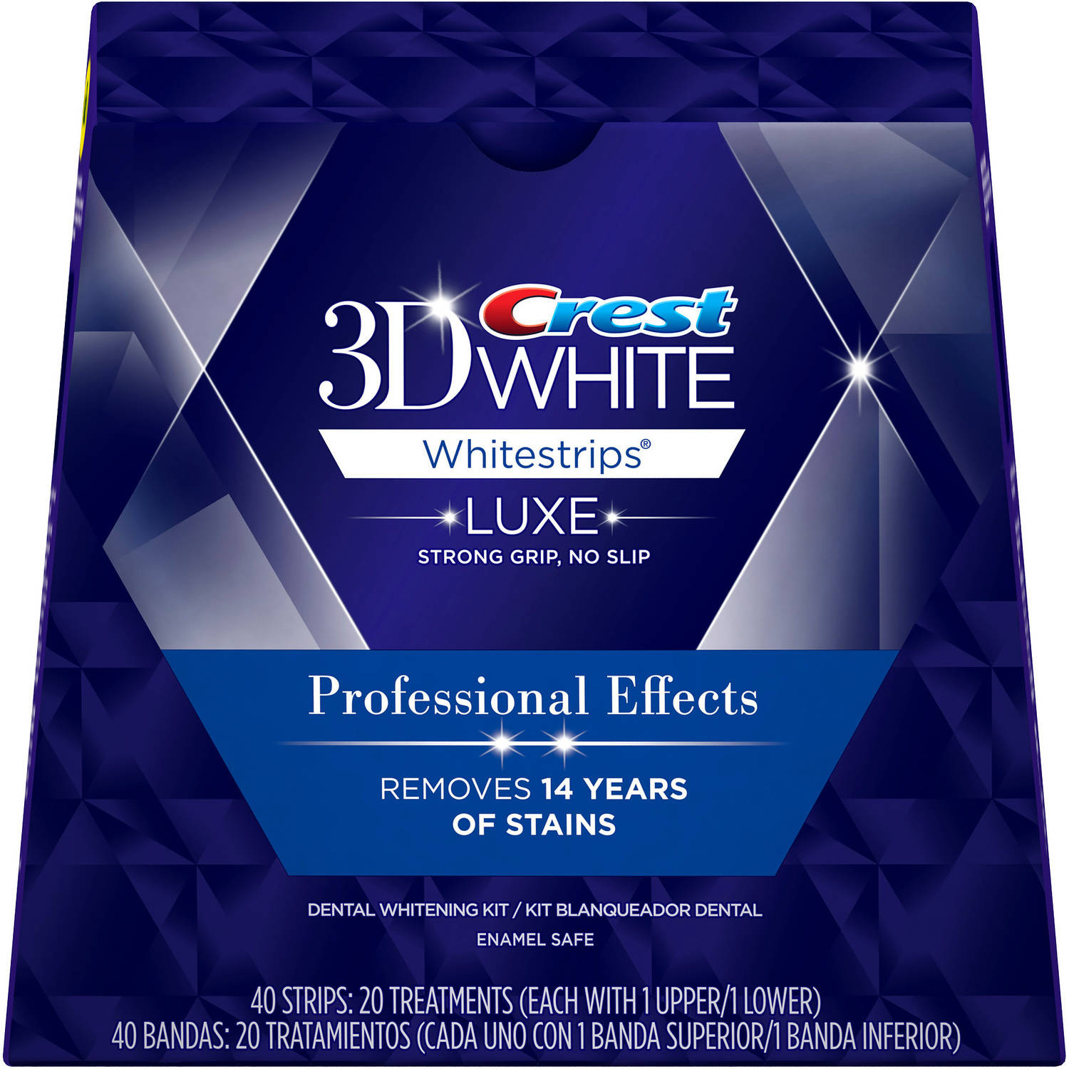 Crest 3D White Luxe Whitestrips Professional Effects Dental Whitening Kit, 20 count