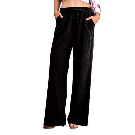 Womens Yoga Sweatpants Wide Leg Lounge Pajamas Pants Comfy Drawstring Workout Joggers Pants with Pockets