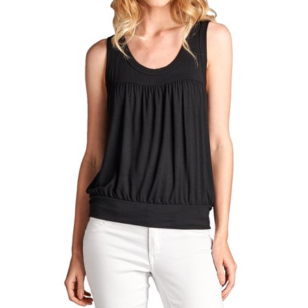 Loving People Scoop Neck Ruched Tank Top, Small,