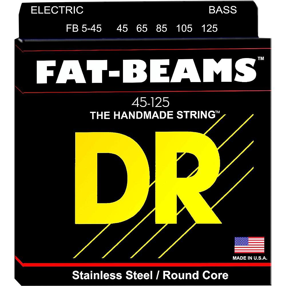 DR Strings Fat-Beams Stainless Steel Medium 5-String Bass Strings (45-125) by