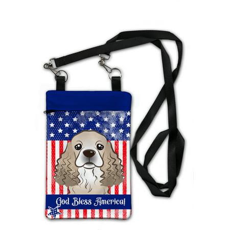 American Flag and Cocker Spaniel Crossbody Bag Purse BB2146OBDY