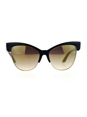 9a04f2bc16 Product Image SA106 Mirrored Mirror Lens Half Horn Rim Cat Eye Womens Retro  Sunglasses Black Gold