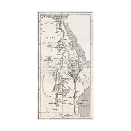 Nile Basin Old Map. By Unidentified Author, Published On Le Tour Du Monde, Paris, 1867 Print Wall Art By marzolino