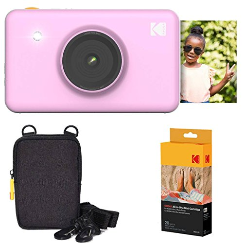 Kodak Mini Shot Instant Camera (Pink) Basic Bundle + Paper (20 Sheets) + Deluxe Case