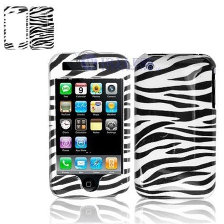 Black and White Stripes Zebra Skin Animal Design Snap-On Cover Hard Case Cell Phone Protector for Apple iPhone 3G, SNAP-ON HARD COVER PROTECTOR.., By Looking Deals,USA ()