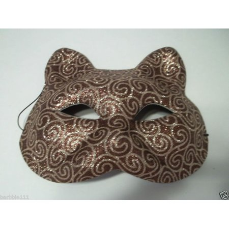Cat Face Brown And Gold Glitter Mask Halloween Costume Party (Cat Faces For Halloween Easy)