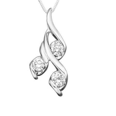 Harry Chad Enterprises 24095 1.5 CT 14K White Gold Lady Round Cut Diamonds 3 Stone Pendant Necklace - image 1 of 1