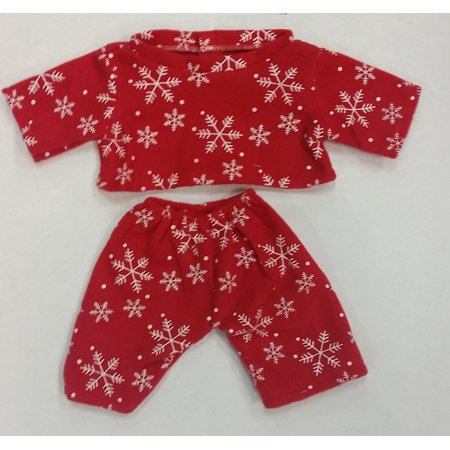 Red Snowflake PJ's Teddy Bear Clothes Outfit Fits Most 14