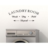 Wall Decor Laundry Room Wash Dry Fold Repeat Letters Vinyl Wall Decals 23x9-Inch Black