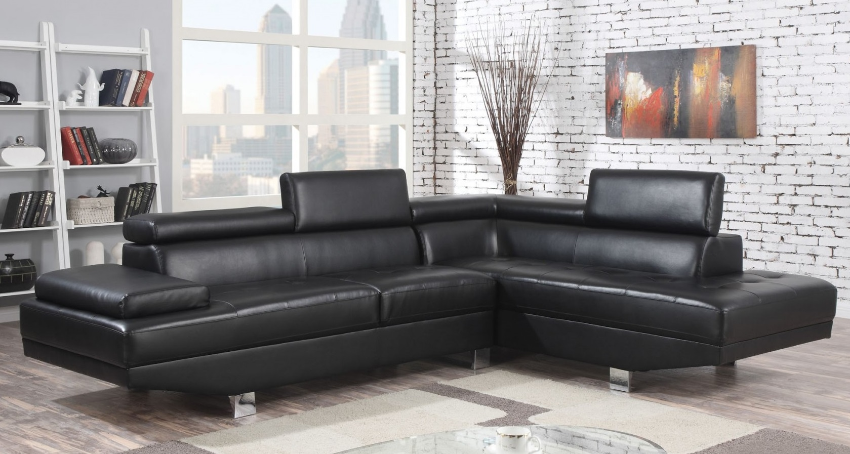 connor sectional with left facing sofa right facing chaise adjustable headrest pu leather upholstery tight