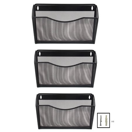 3 Pockets Office Mesh Collection Wall File Holder Organizer, Black ()