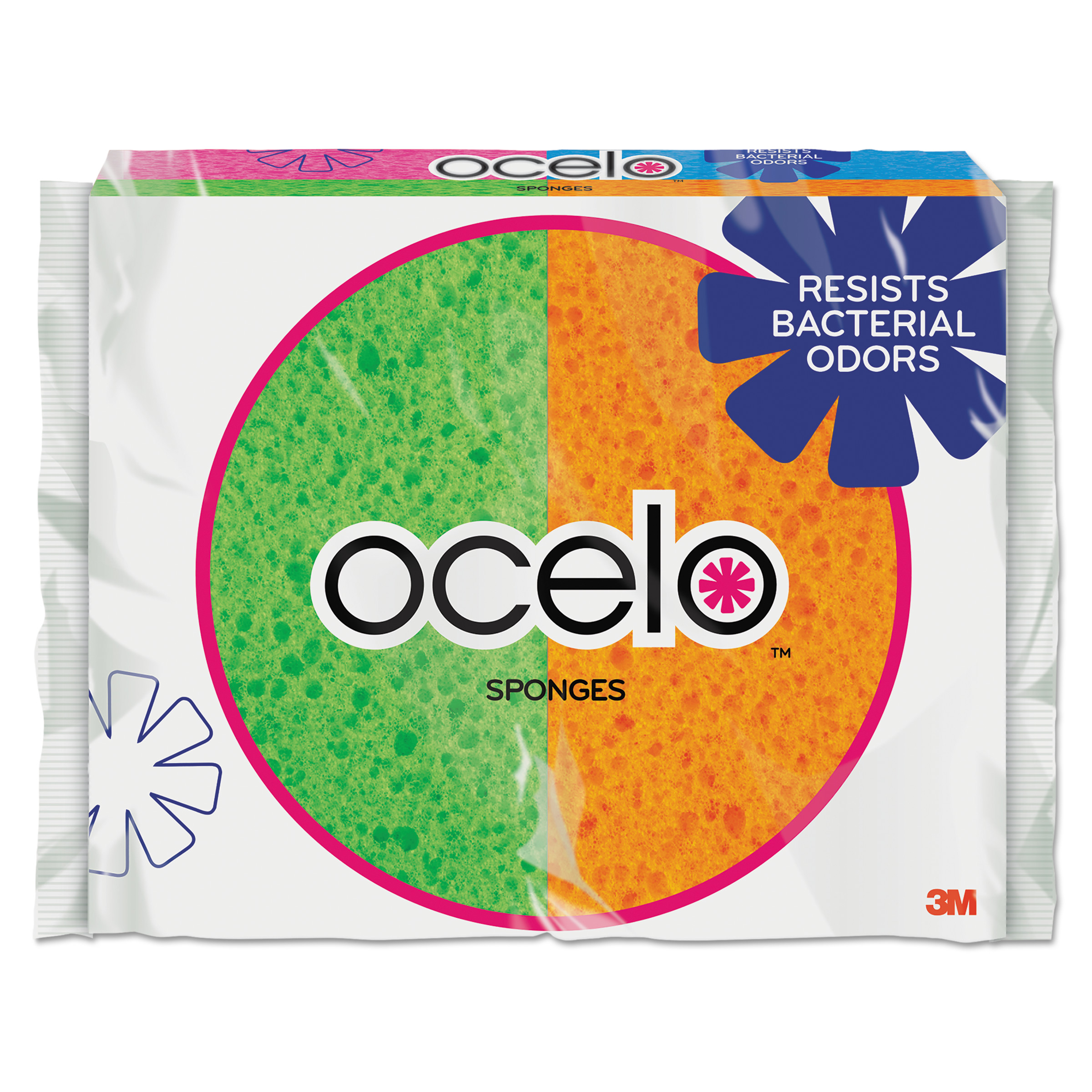 O-Cel-O Sponge With Stayfresh Technology, 4 7/10 x 3 x 3/5, 4-pack
