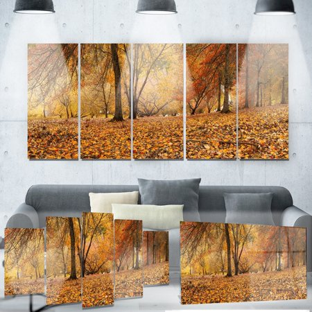 DESIGN ART Designart 'Brown Autumn Panorama' Landscape Photo Metal Wall (Autumn Brown Metal)