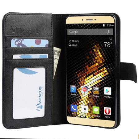 innovative design c029d 72386 Abacus24-7 BLU Vivo 5 Wallet Case with Flip Cover, Credit Card Holders &  Stand, Black