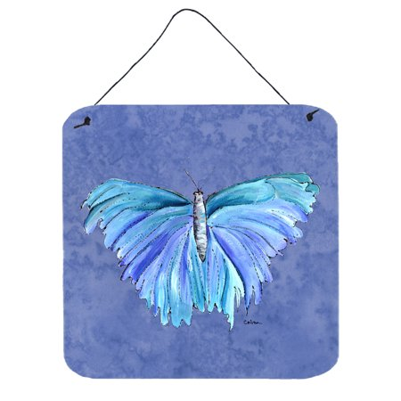 Butterfly on Slate Blue Aluminium Metal Wall or Door Hanging Prints