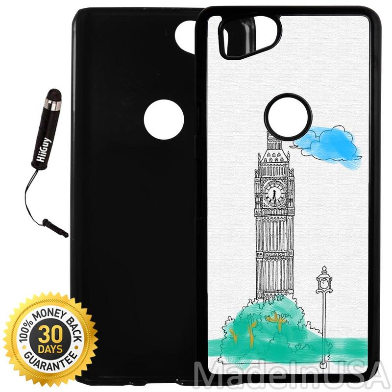 Custom Google Pixel 2 Case (Big Ben Painting) Plastic Black Cover Ultra Slim | Lightweight | Includes Stylus Pen by Innosub