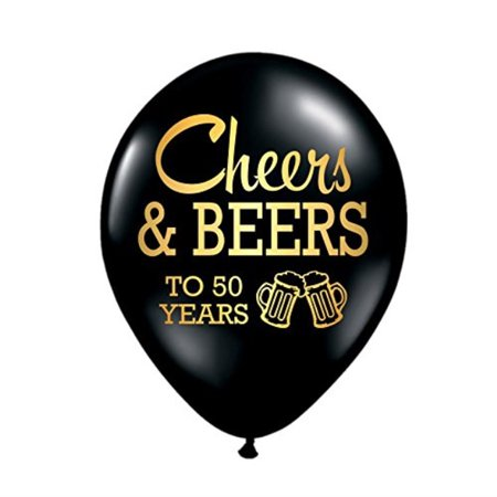 50th Birthday Party Balloon Set Of 3 Decorations Cheers And Beers For Him Beer Anniversary
