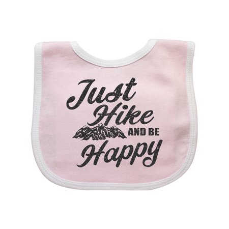 Just Hike and be Happy with Mountains Vector Baby Bib