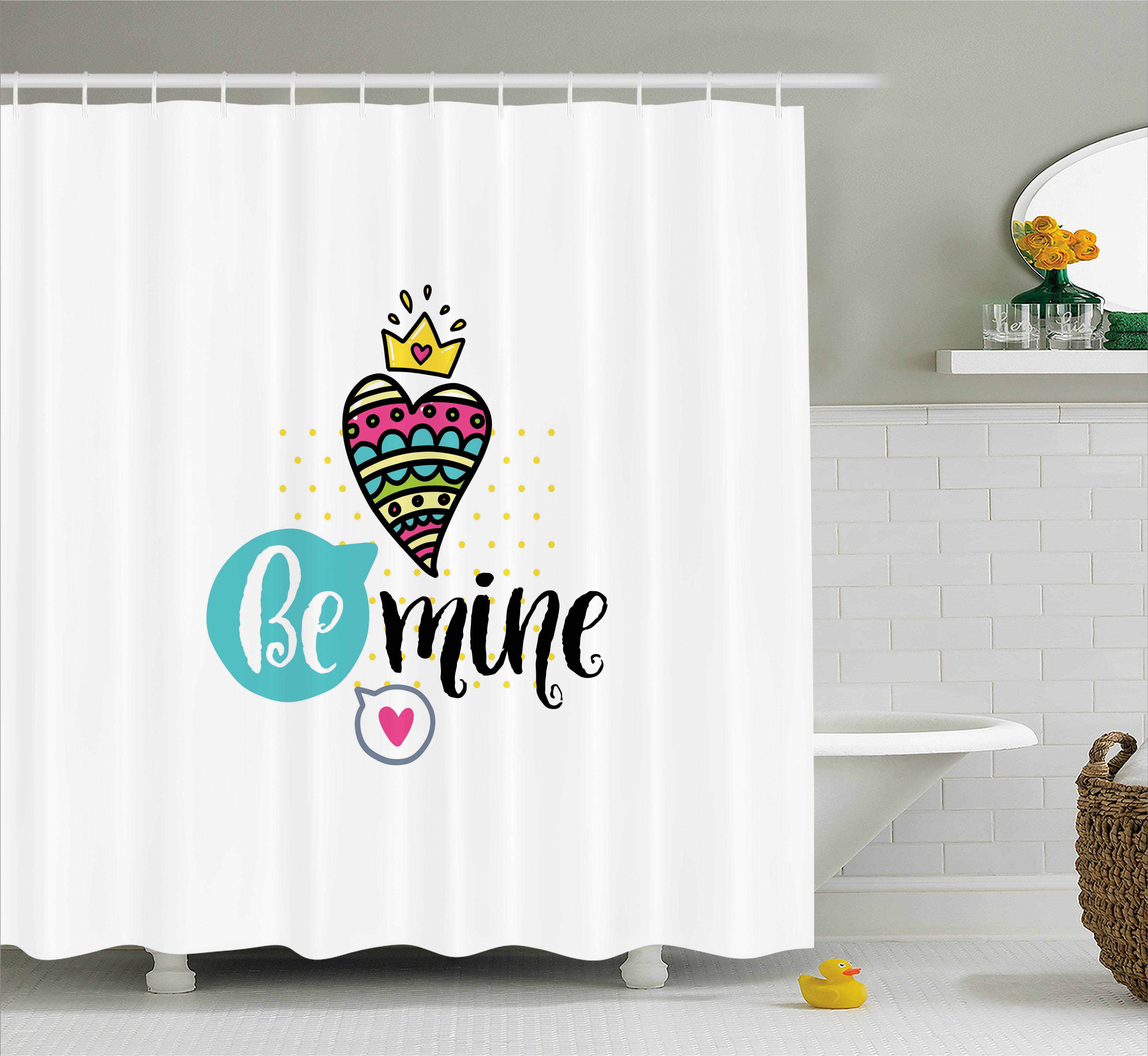 Romantic Shower Curtain Colorful Patterned Heart Shape With A Crown Creative Typography Phrase Be Mine Fabric Bathroom Set Hooks 69W X 70L Inches