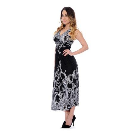 Unique Styles Paisley Print Halter Top Maxi Dress Sm Paisley