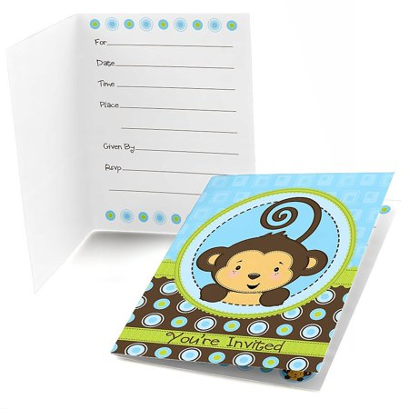Monkey Boy - Fill In Baby Shower or Birthday Party Invitations (8 count)