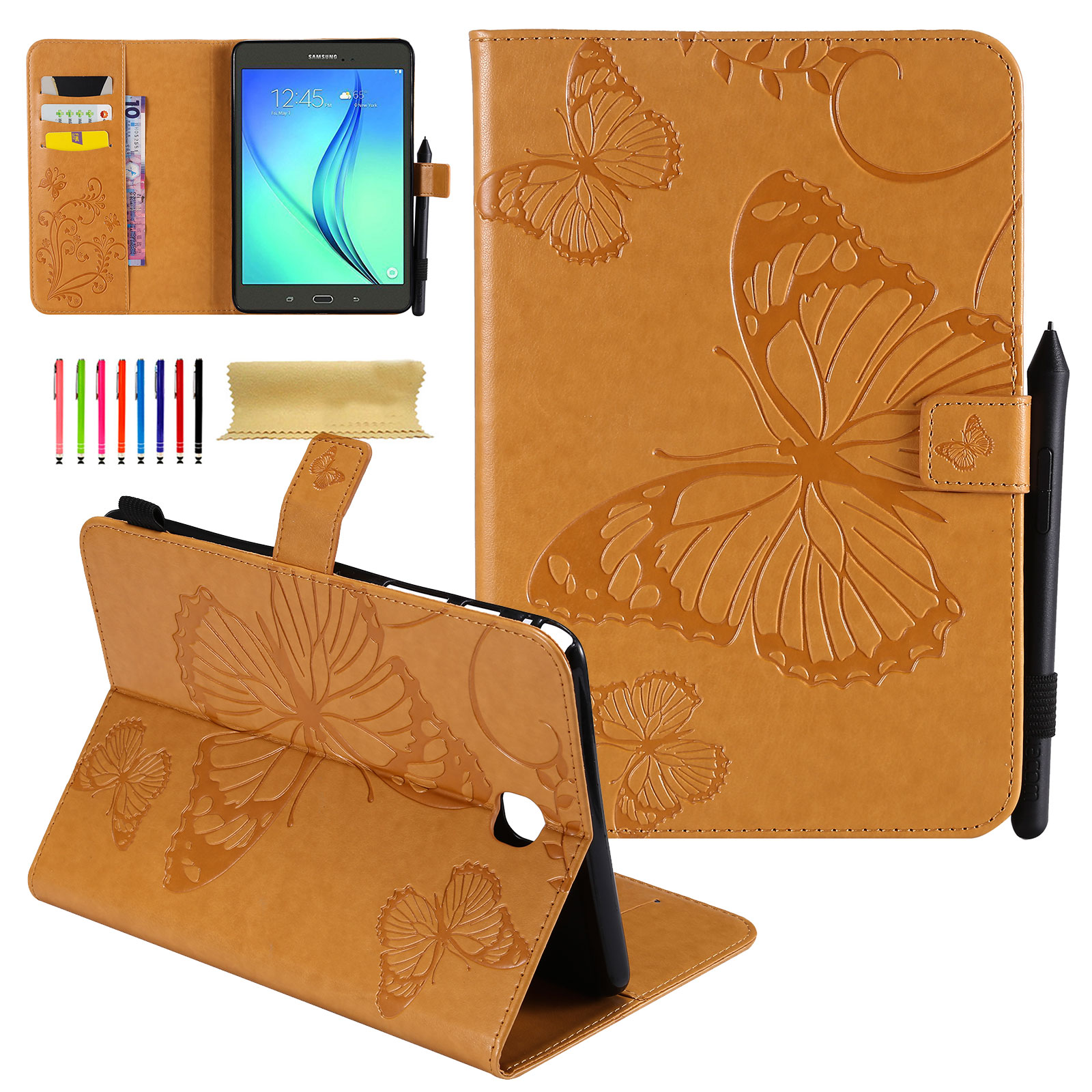Galaxy Tab A 8.0 2015 Release Case, Goodest [Embossed Butterfly] Smart PU Leather Stand Cover w/ Auto Wake Sleep Function for Samsung Galaxy Tab A 8.0 inch 2015 Model SM-T350/P350 Tablet, Yellow