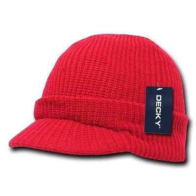 Ski Snowboard Visor - Red Visor Beanie Jeep GI Military Ski Snowboard Watch Cap Caps Hat Hats Beanies